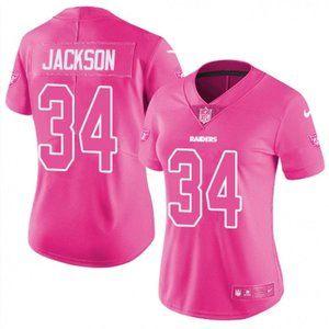 Women  Raiders Bo Jackson Pink Jersey
